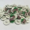 Ref001080 Botón Redondo en colores rojo y  verde y  blanco