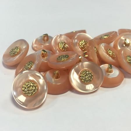 Ref004293 Botón Ovalado en colores salmón y dorado